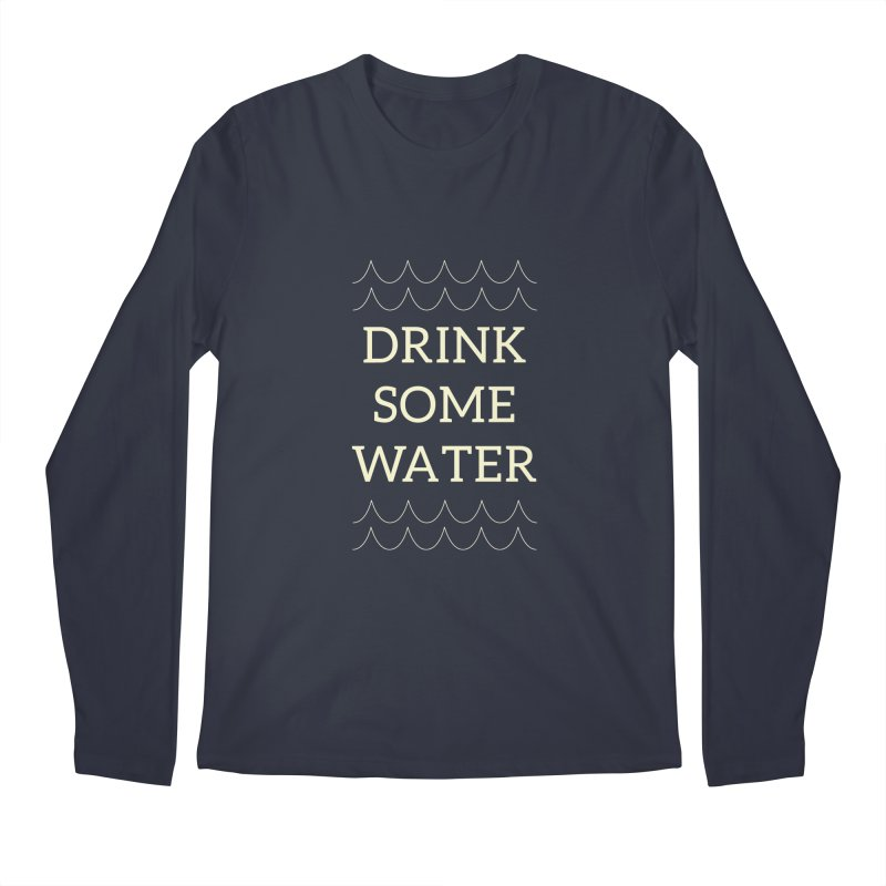 Drink Water Reminder Yellow Text Colorway Men's Longsleeve T-Shirt by Honeybee Clothing and Wares
