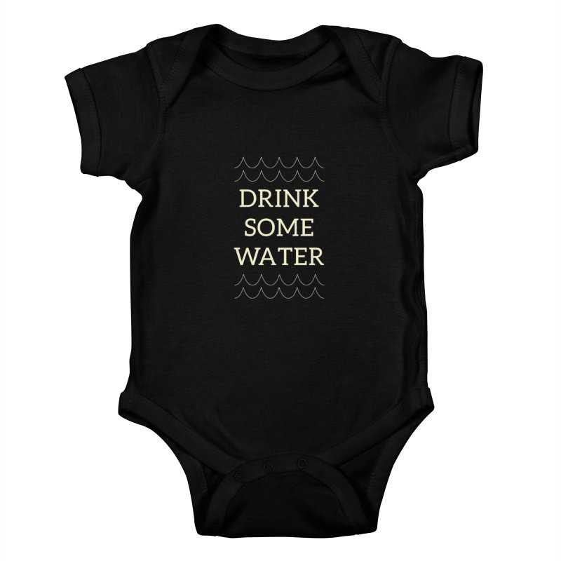 Drink Water Reminder Yellow Text Colorway Kids Baby Bodysuit by Honeybee Clothing and Wares