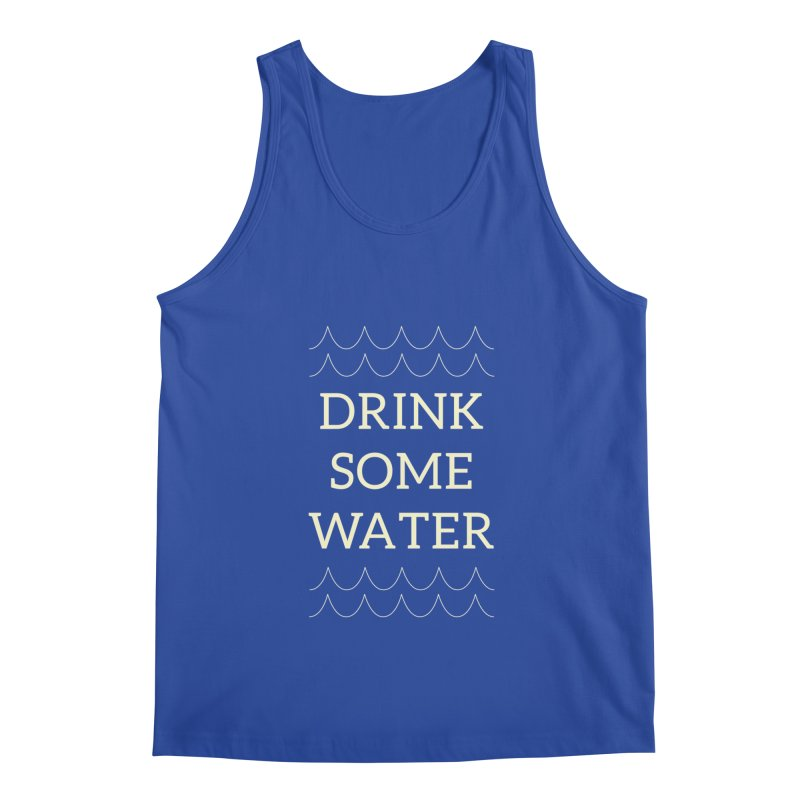 Drink Water Reminder Yellow Text Colorway Men's Tank by Honeybee Clothing and Wares