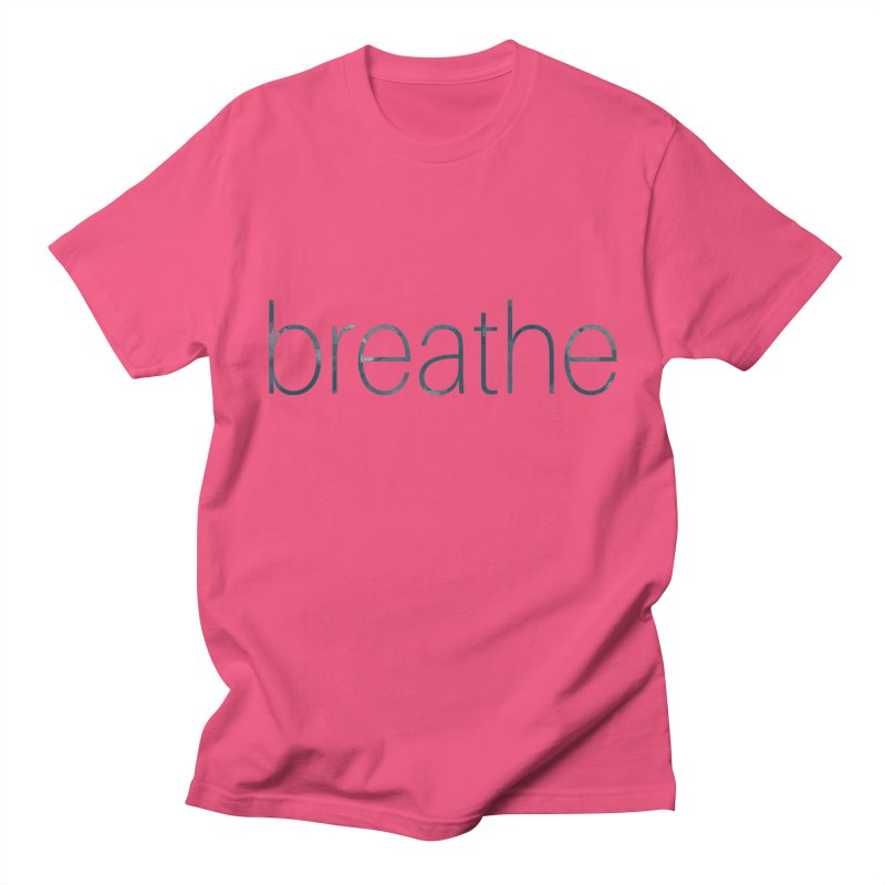 Breathe - Teal Skinny Letters Men's T-Shirt by Honeybee Clothing and Wares