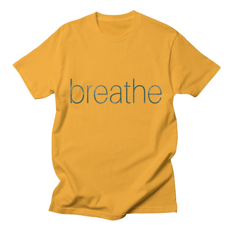 Breathe - Teal Skinny Letters Women's T-Shirt by Honeybee Clothing and Wares