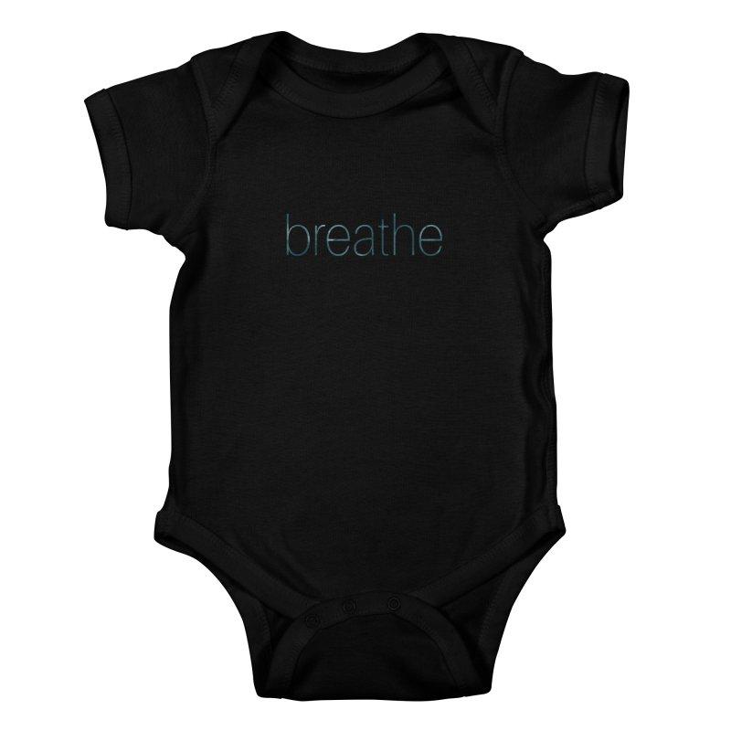 Breathe - Teal Skinny Letters Kids Baby Bodysuit by Honeybee Clothing and Wares