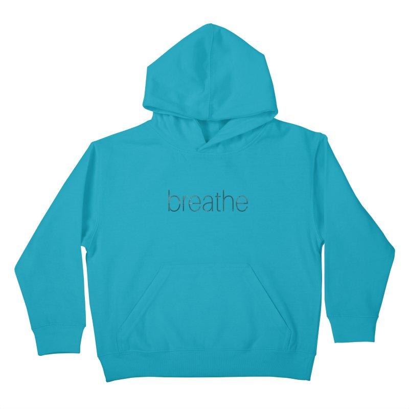Breathe - Teal Skinny Letters Kids Pullover Hoody by Honeybee Clothing and Wares