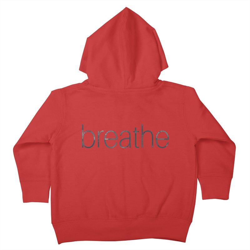Breathe - Teal Skinny Letters Kids Toddler Zip-Up Hoody by Honeybee Clothing and Wares