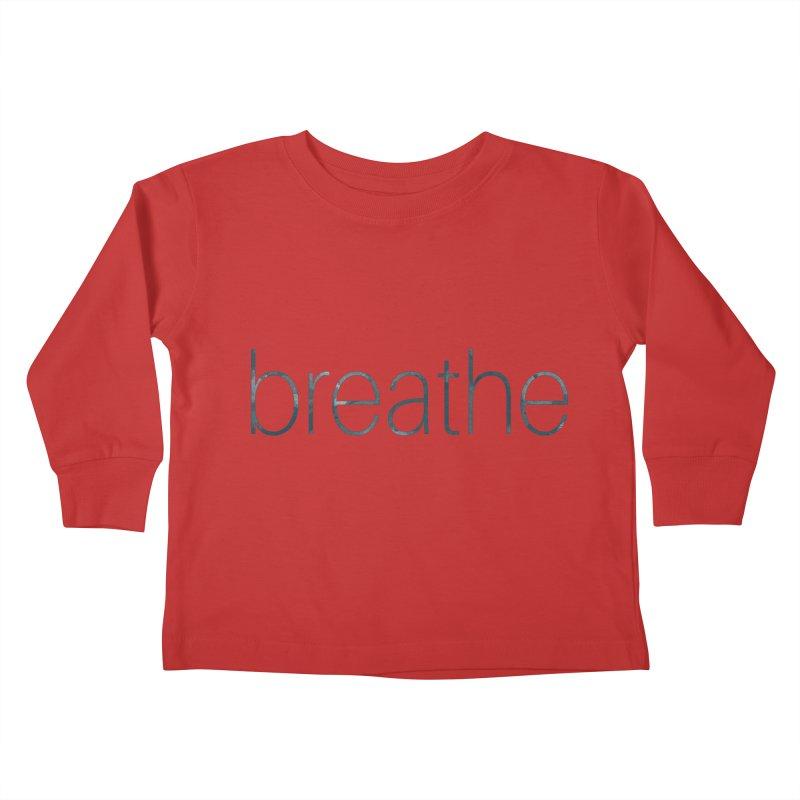Breathe - Teal Skinny Letters Kids Toddler Longsleeve T-Shirt by Honeybee Clothing and Wares