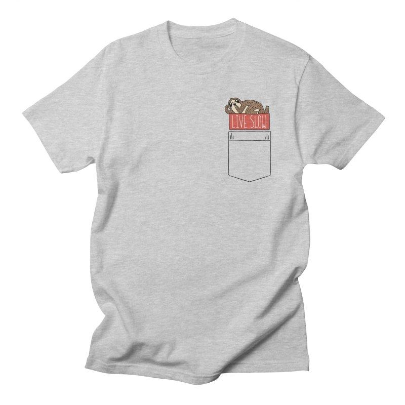 Live Slow Pocket Sloth Men's Regular T-Shirt by Honey Dill on Threadless