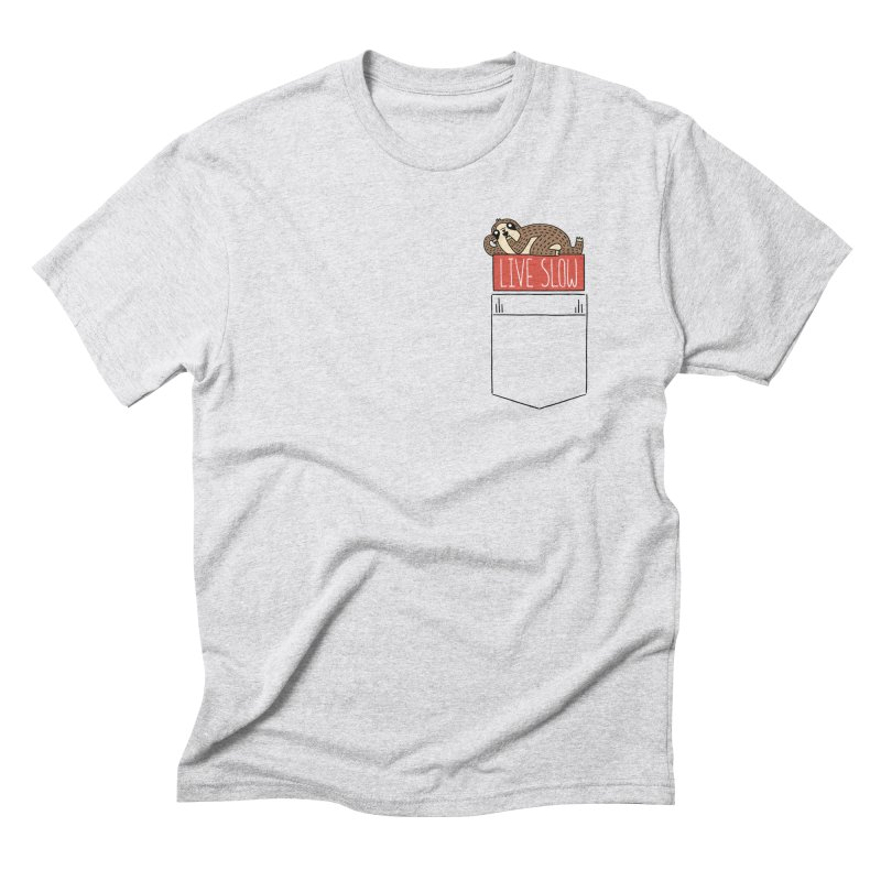 Live Slow Pocket Sloth Men's Triblend T-Shirt by Honey Dill on Threadless