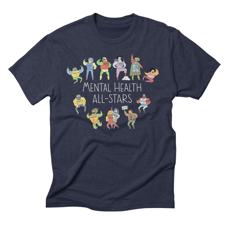 Mental Health All-Stars in Men's Triblend T-Shirt Navy by Honey Dill on Threadless