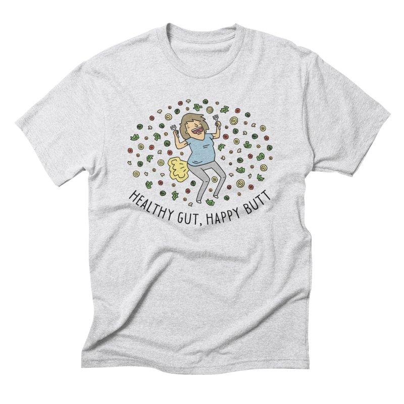 Health Gut, Happy Butt Men's Triblend T-Shirt by Honey Dill on Threadless