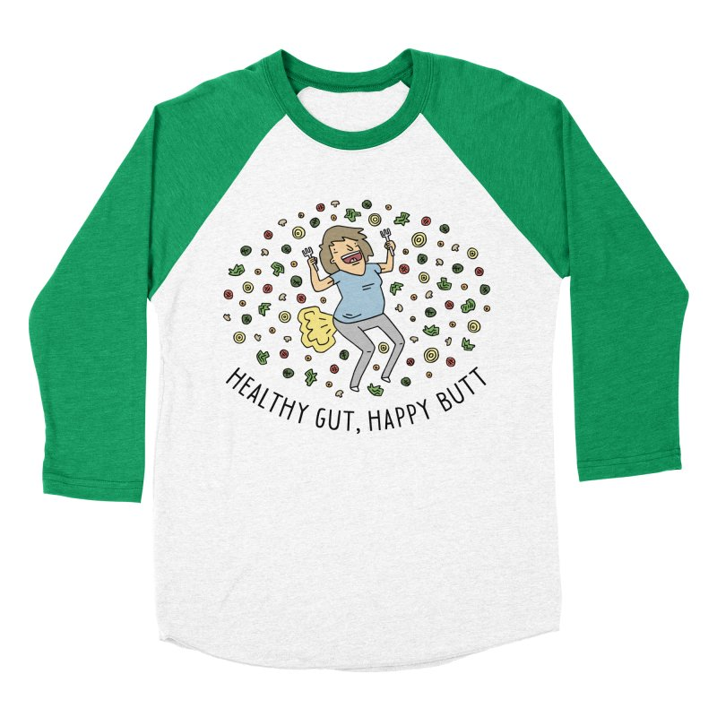 Health Gut, Happy Butt Men's Baseball Triblend Longsleeve T-Shirt by Honey Dill on Threadless