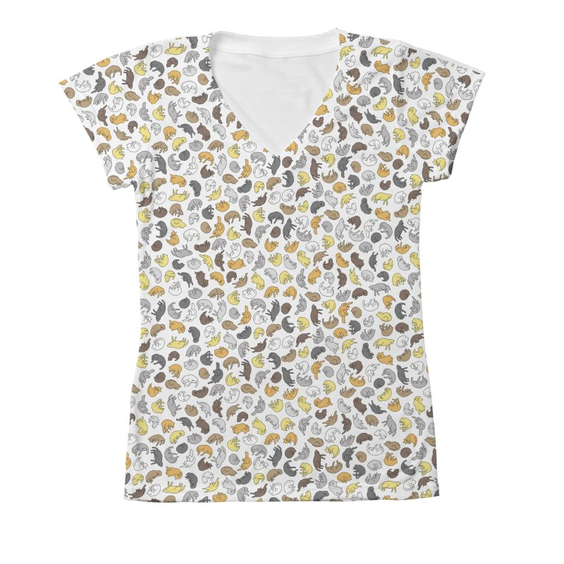 Cat Pattern Shirt in Women's V-Neck All Over Print by Honey Dill on Threadless