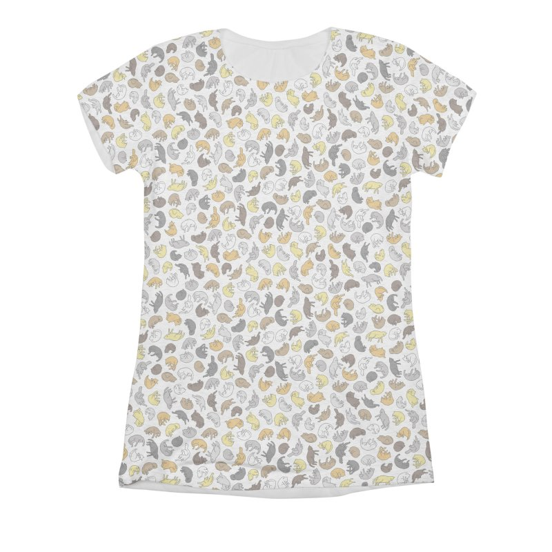 Cat Pattern Shirt Women's Triblend All Over Print by Honey Dill on Threadless