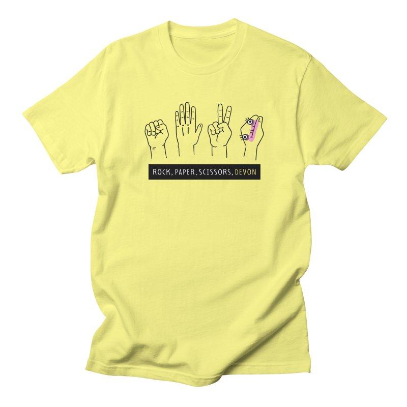 Rock, Paper, Scissors, Devon Men's Regular T-Shirt by Honey Dill on Threadless