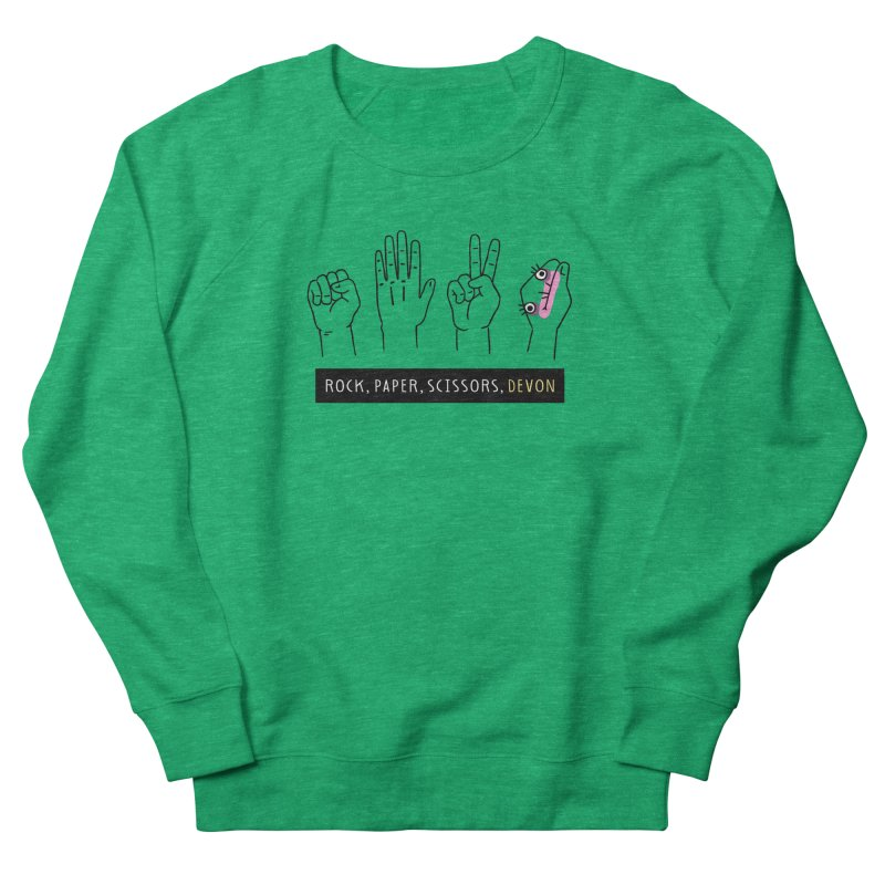 Rock, Paper, Scissors, Devon Women's French Terry Sweatshirt by Honey Dill on Threadless
