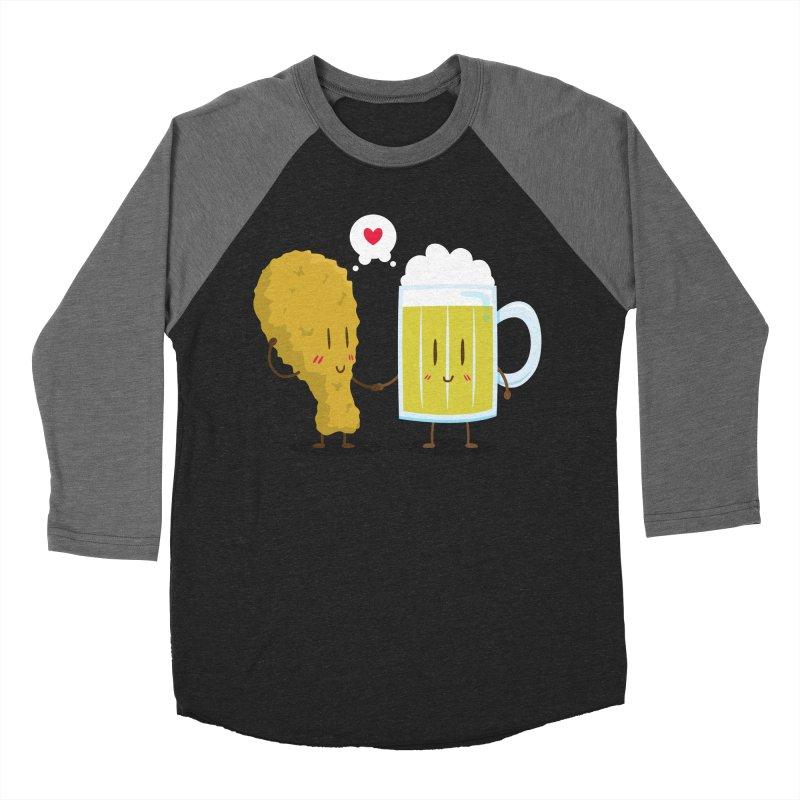Fried Chicken + Beer = Love Men's Baseball Triblend T-Shirt by hookeeak's Artist Shop