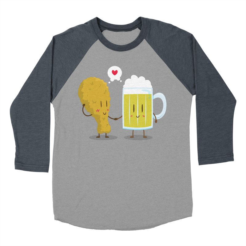 Fried Chicken + Beer = Love Men's Baseball Triblend T-Shirt by hookeeak's Artist Shop