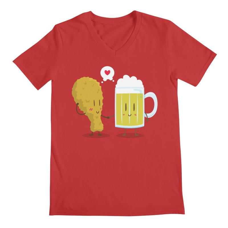 Fried Chicken + Beer = Love Men's V-Neck by hookeeak's Artist Shop