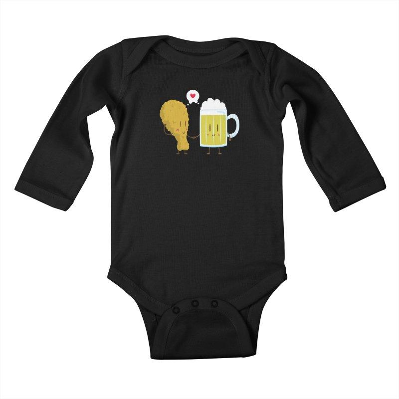 Fried Chicken + Beer = Love Kids Baby Longsleeve Bodysuit by hookeeak's Artist Shop