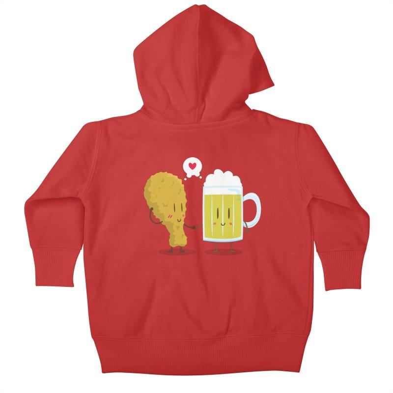 Fried Chicken + Beer = Love Kids Baby Zip-Up Hoody by hookeeak's Artist Shop