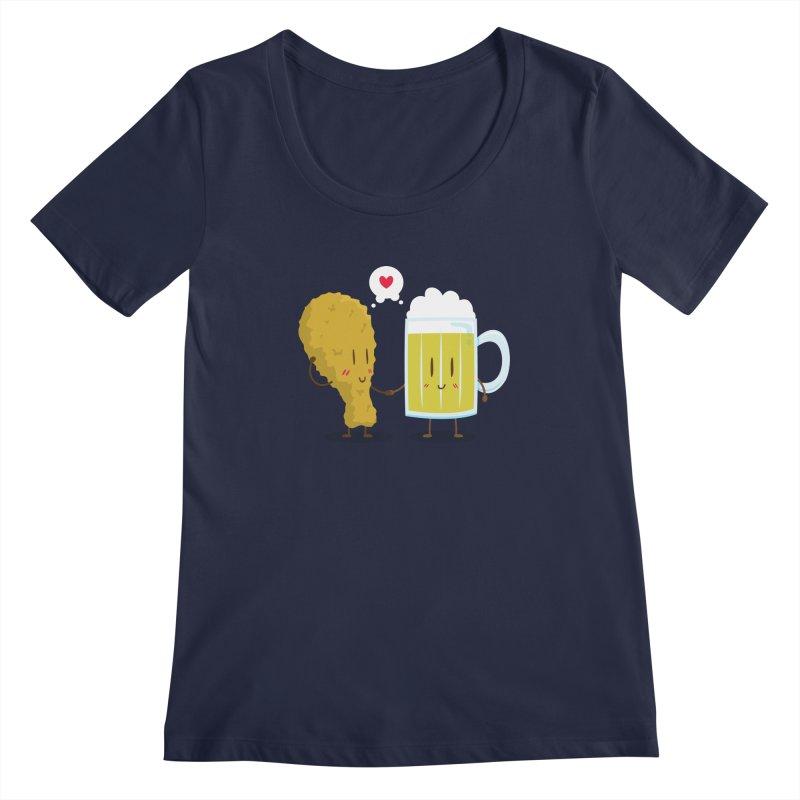 Fried Chicken + Beer = Love Women's Scoopneck by hookeeak's Artist Shop