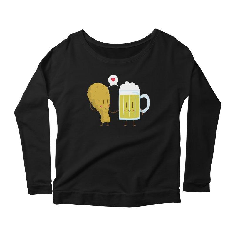 Fried Chicken + Beer = Love Women's Longsleeve Scoopneck  by hookeeak's Artist Shop
