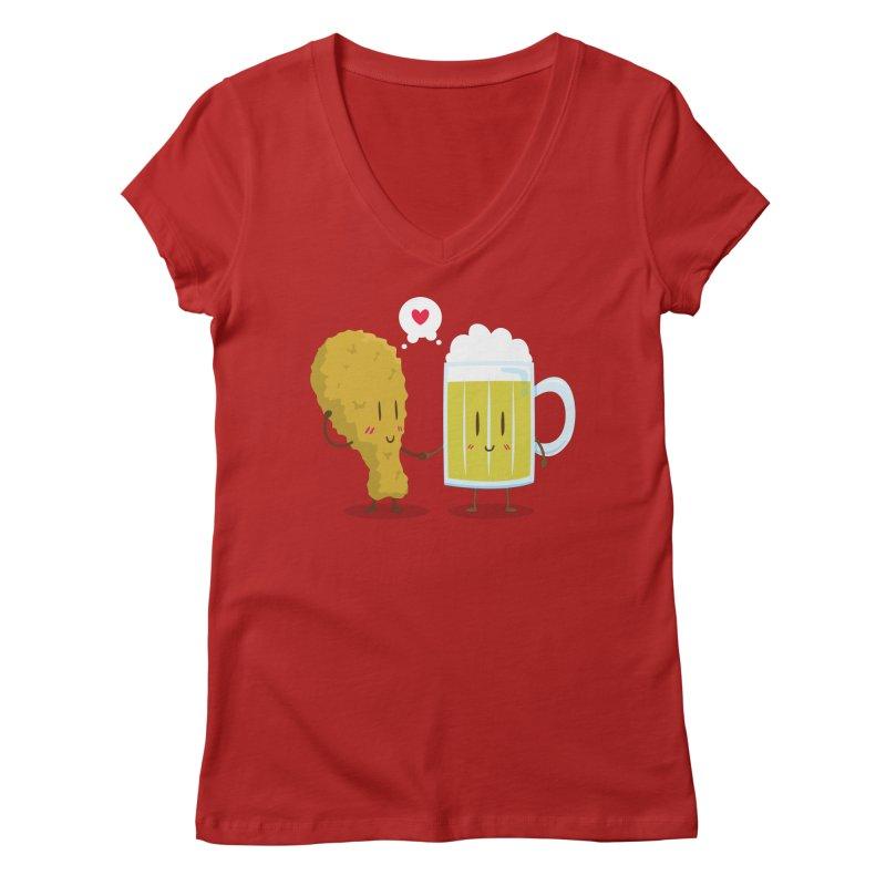 Fried Chicken + Beer = Love Women's V-Neck by hookeeak's Artist Shop