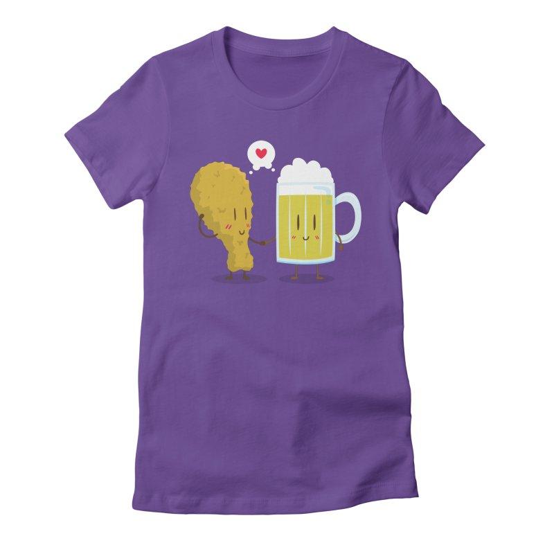 Fried Chicken + Beer = Love Women's Fitted T-Shirt by hookeeak's Artist Shop