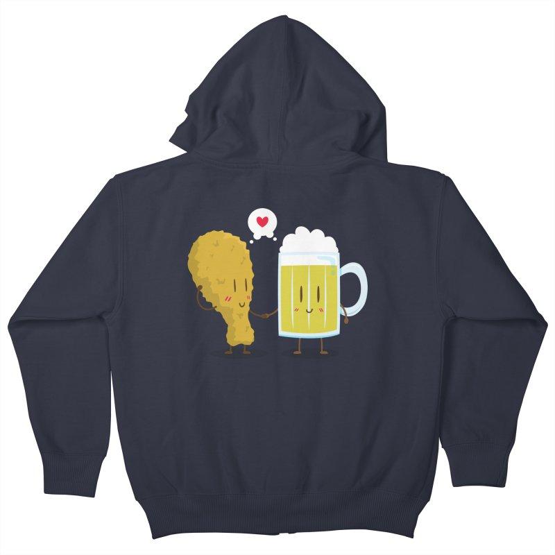 Fried Chicken + Beer = Love Kids Zip-Up Hoody by hookeeak's Artist Shop
