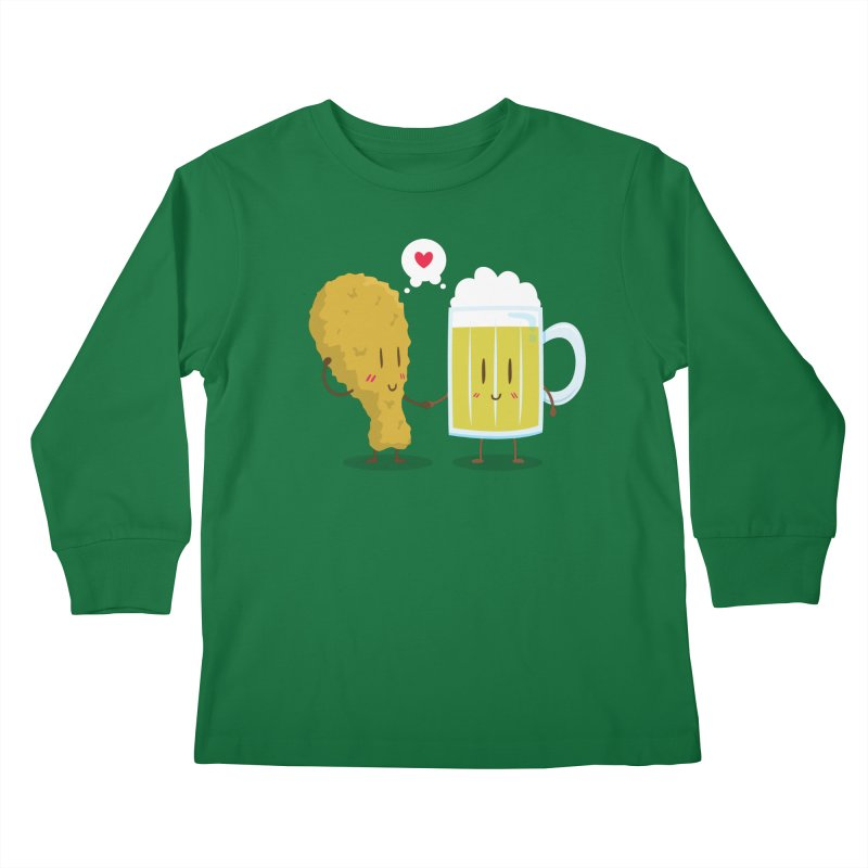 Fried Chicken + Beer = Love Kids Longsleeve T-Shirt by hookeeak's Artist Shop