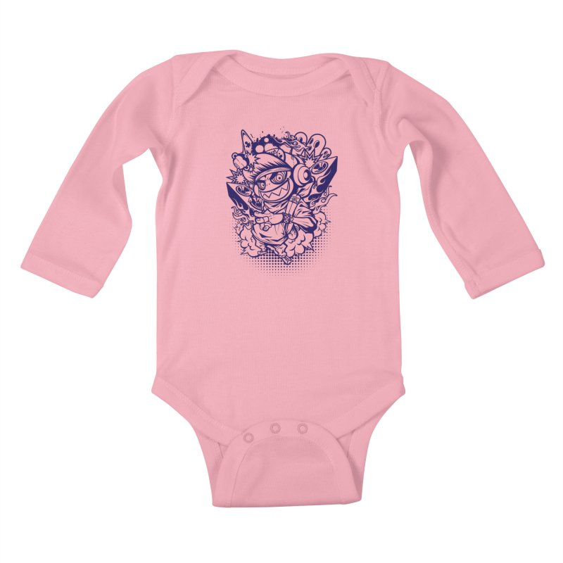 CRAZY MONKEY BEAT Kids Baby Longsleeve Bodysuit by hookeeak's Artist Shop