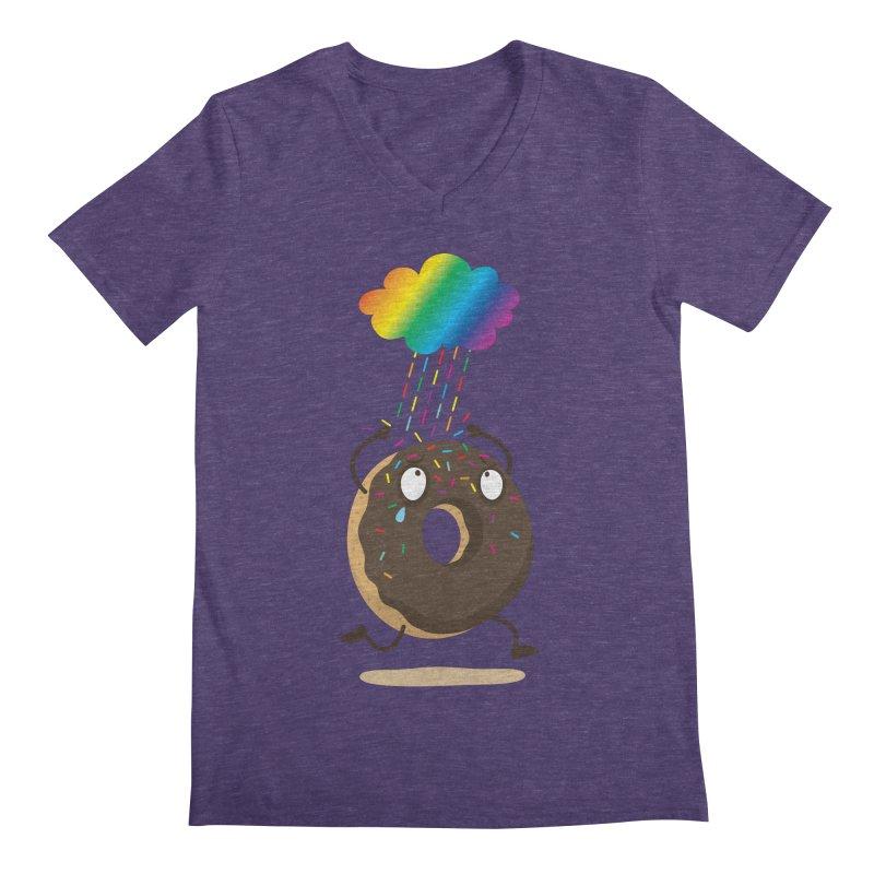 Rainbow Sugar Rain Men's V-Neck by hookeeak's Artist Shop