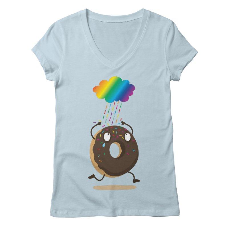 Rainbow Sugar Rain Women's V-Neck by hookeeak's Artist Shop