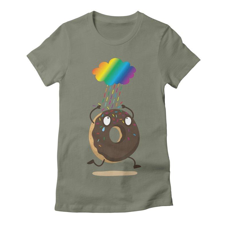 Rainbow Sugar Rain Women's Fitted T-Shirt by hookeeak's Artist Shop