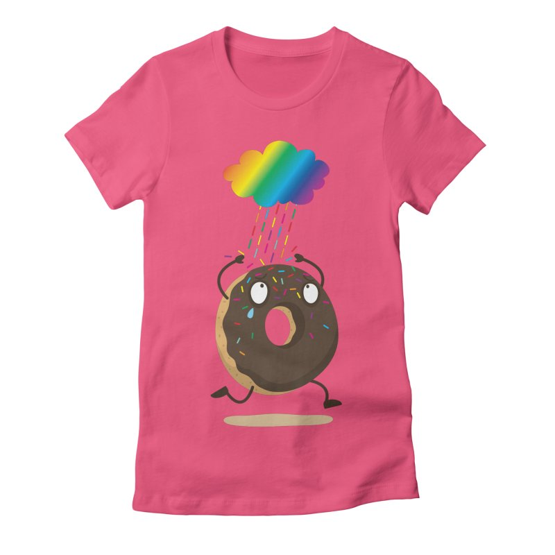 Rainbow Sugar Rain Women's Fitted T-Shirt by hookeeak's Artist Shop