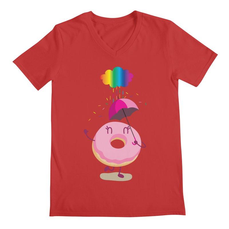 Rainbow Sugar Rain 2 Men's V-Neck by hookeeak's Artist Shop