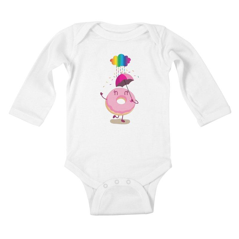 Rainbow Sugar Rain 2 Kids Baby Longsleeve Bodysuit by hookeeak's Artist Shop