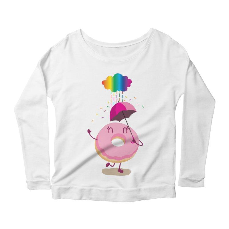 Rainbow Sugar Rain 2 Women's Longsleeve Scoopneck  by hookeeak's Artist Shop