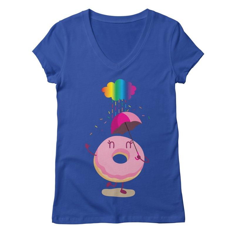 Rainbow Sugar Rain 2 Women's V-Neck by hookeeak's Artist Shop