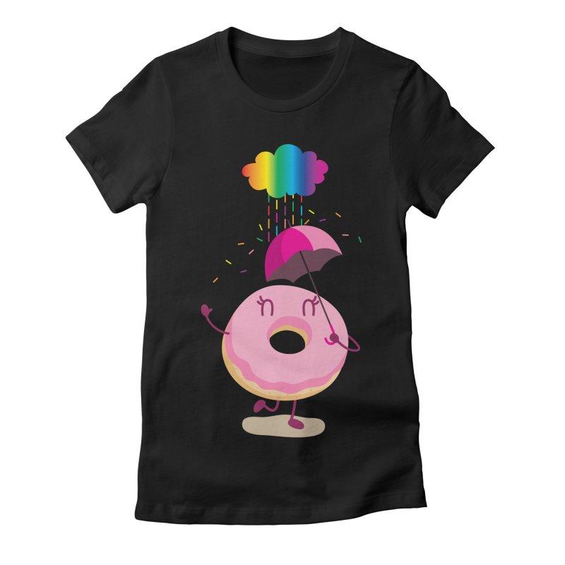 Rainbow Sugar Rain 2 Women's Fitted T-Shirt by hookeeak's Artist Shop