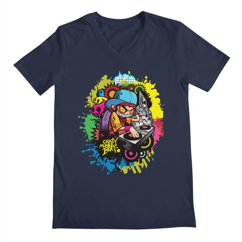 CRAZY MONKEY BEAT 2 Men's V-Neck by hookeeak's Artist Shop