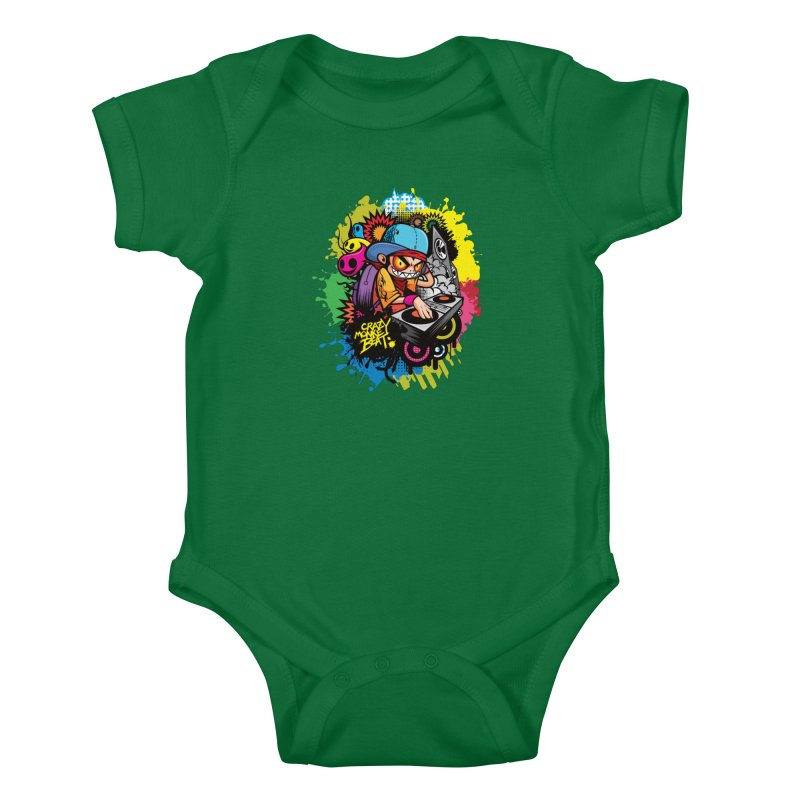 CRAZY MONKEY BEAT 2 Kids Baby Bodysuit by hookeeak's Artist Shop