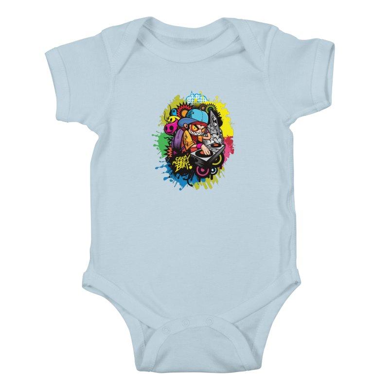 CRAZY MONKEY BEAT 2 Kids Baby Bodysuit by hookeeak's Artist Shop