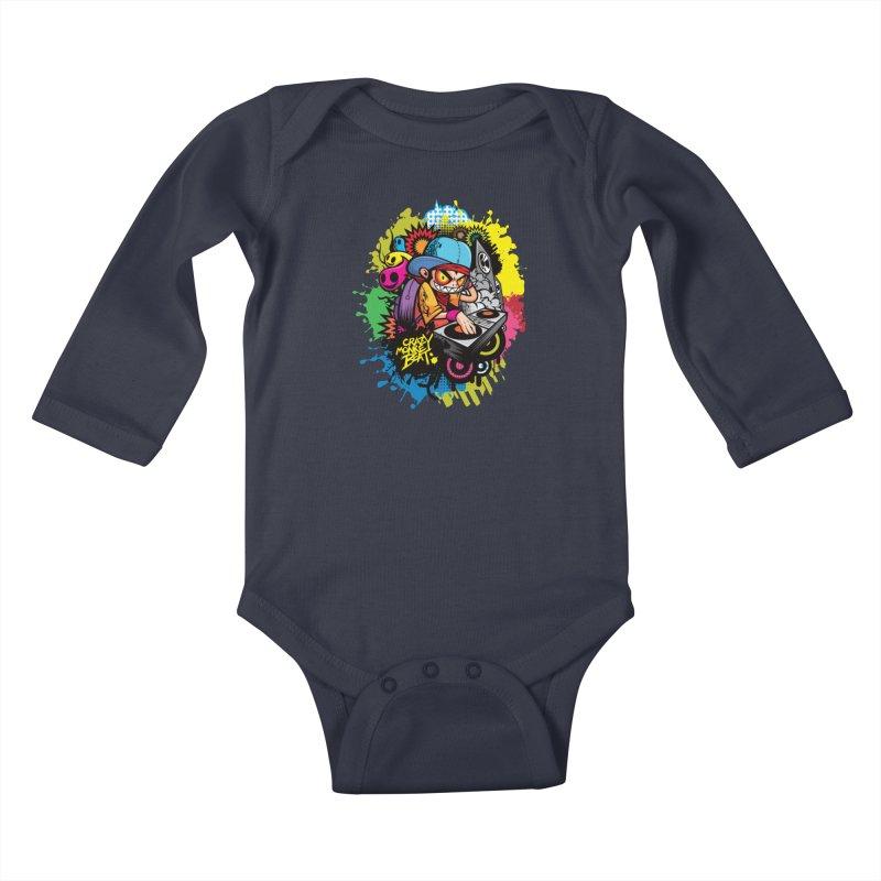 CRAZY MONKEY BEAT 2 Kids Baby Longsleeve Bodysuit by hookeeak's Artist Shop