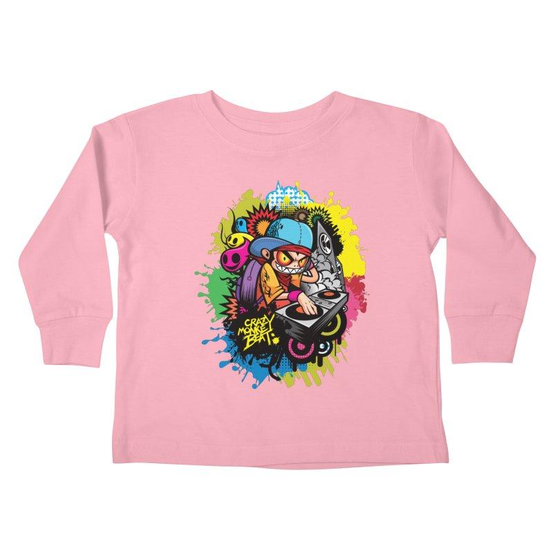 CRAZY MONKEY BEAT 2 Kids Toddler Longsleeve T-Shirt by hookeeak's Artist Shop