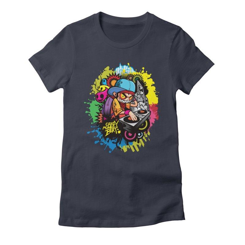 CRAZY MONKEY BEAT 2 Women's Fitted T-Shirt by hookeeak's Artist Shop