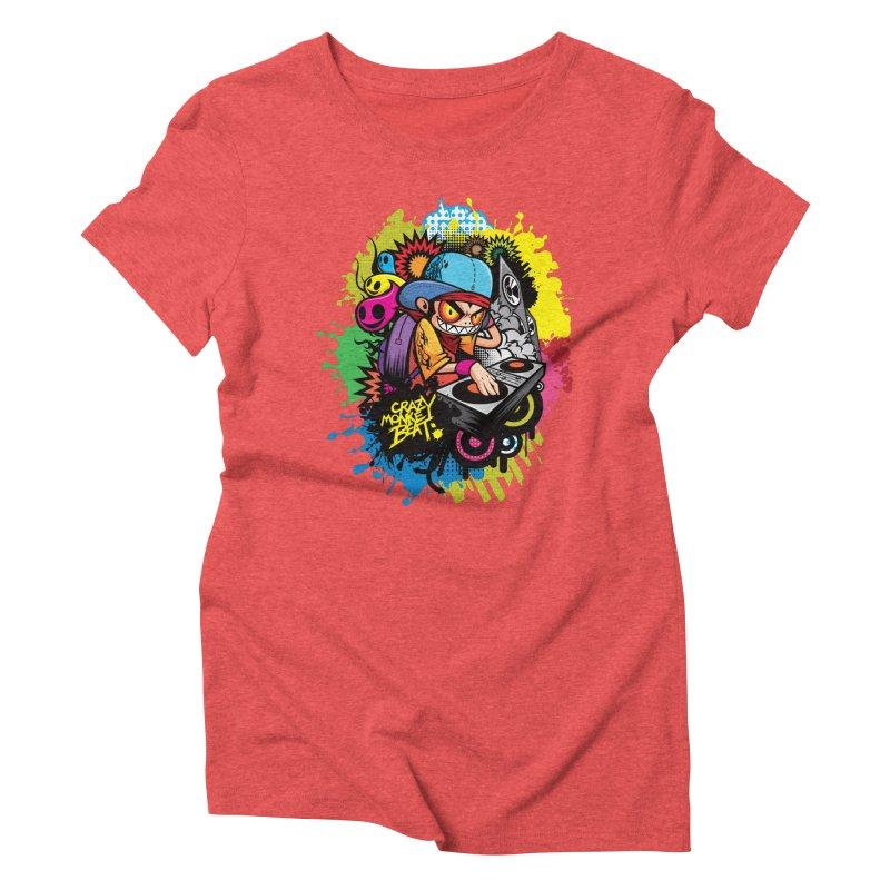CRAZY MONKEY BEAT 2 Women's Triblend T-Shirt by hookeeak's Artist Shop