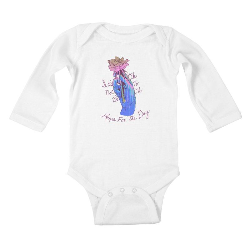 Hillary White Rabbit - Artist Series Kids Baby Longsleeve Bodysuit by Hope for the Day Shop