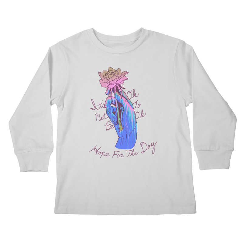 Hillary White Rabbit - Artist Series Kids Longsleeve T-Shirt by Hope for the Day Shop