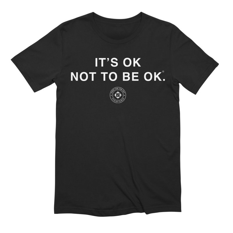 IT'S OK White Lettering in Men's Extra Soft T-Shirt Black by Hope for the Day Shop