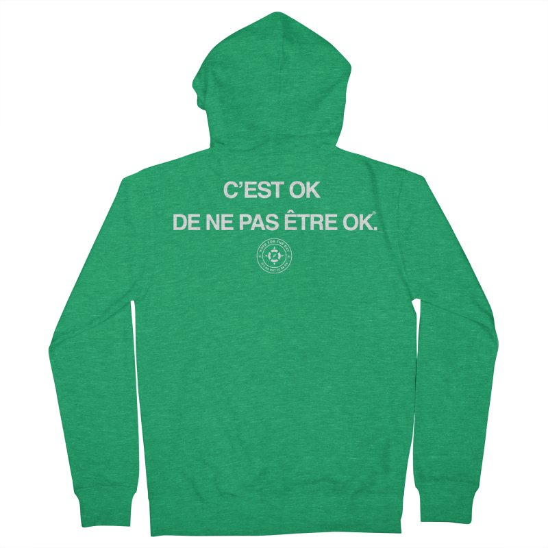IT'S OK French White Lettering Women's Zip-Up Hoody by Hope for the Day Shop